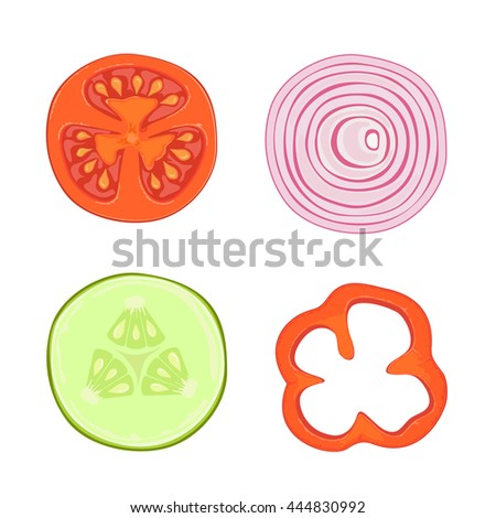 Set of ripe vegetables, slices of bell peppers, red tomato, onion and cucumber, isolated on white background, illustration.
