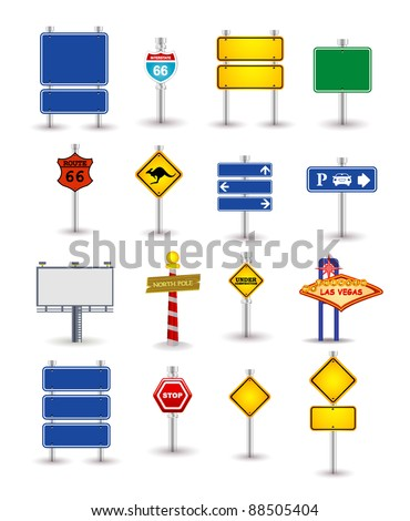 set of road sign - stock vector