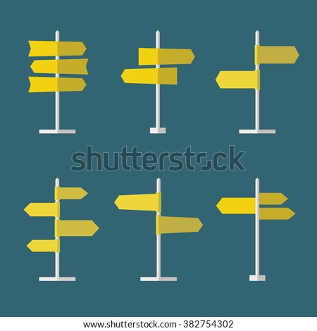 Set of 6 road signs flat icons. Collection of signpost icons in flat style. Blank templates for navigational text. EPS10 clean vector illustration. - stock vector