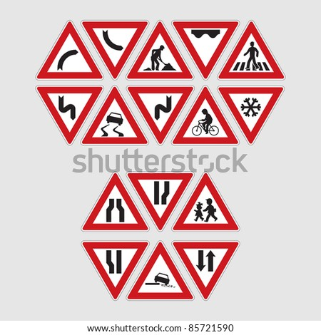 set of road signs - illustration - stock vector