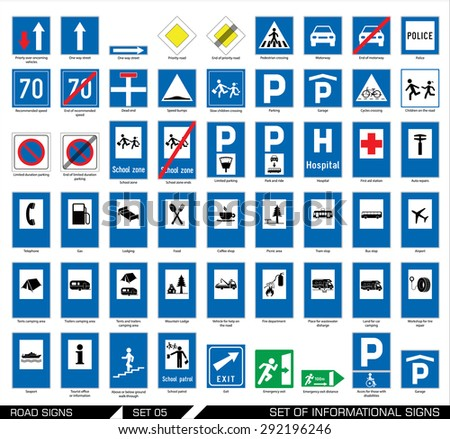Set of road signs. Signboards. Collection of mandatory traffic signs. Vector illustration.  - stock vector