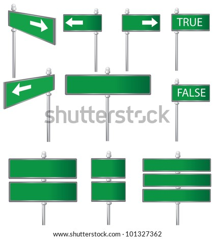 Set of Road Signs,Vector - stock vector