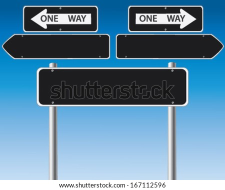 Set of roadsigns over blue sky - stock vector