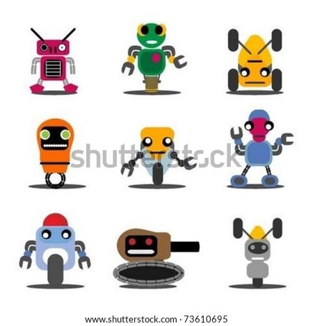 Set of Robots - stock vector