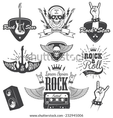 Set of rock and roll music emblems, labels, badges and design elements. Heavy metal design. - stock vector