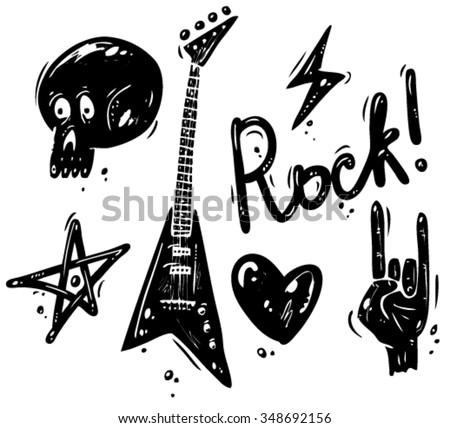 Set of rock music symbols - stock vector