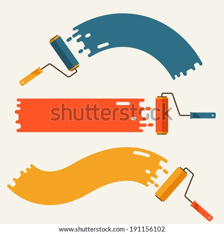 Set of roller brushes with strips paint. - stock vector