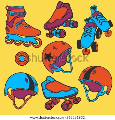 set of roller skates helmets wheel - stock vector