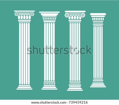 Set of roman and greek classic columns. Ancient. Vector illustration, isolated. White color on blue background