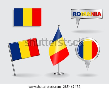 Set of Romanian pin, icon and map pointer flags. Vector illustration. - stock vector