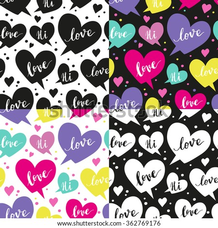 Set of Romantic concept seamless pattern with hearts and speech bubbles - stock vector