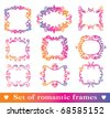 Set of romantic doodle frames. Frames to decoration of Valentine´s day. - stock vector