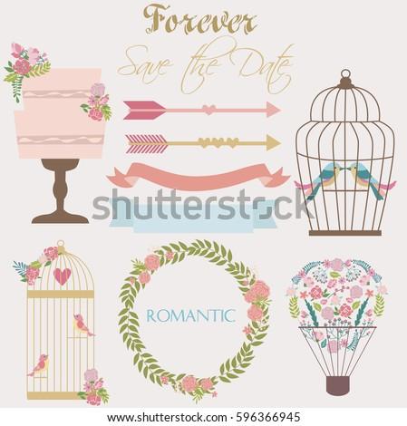 Set Romantic Elements Birthday Card Wedding Stock Vector Royalty