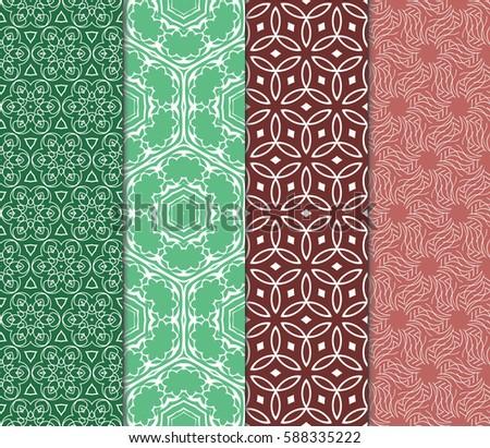 Seamless Patterns Set Vintage Decorative Ethnic Stock