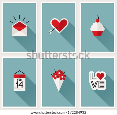 Set of romantic Valentines day symbols - stock vector