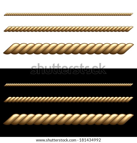 Set of Ropes Isolated on White and Black Backgrounds.