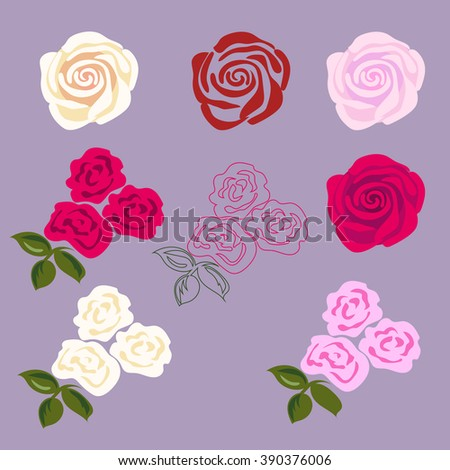Set of rose flowers. Flat design for sticker, tattoo etc. - stock vector
