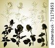 set of rosebuds, sketch, vector illustration - stock vector