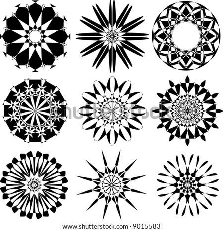 set of rosette flowers,vector - stock vector