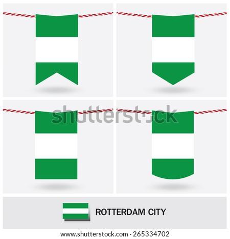 Set of Rotterdam City flag. vector illustration - stock vector