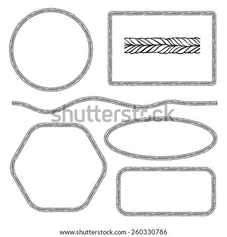 Set of Round and Square Frames. The Pattern Rope Brush. Vector Templates. - stock vector