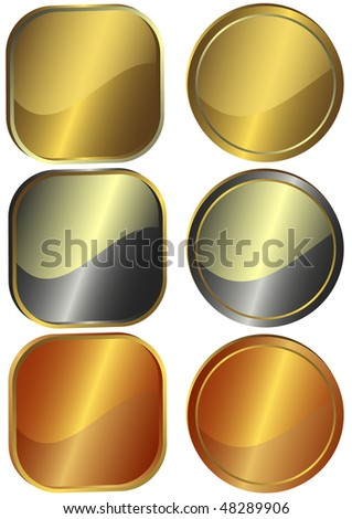 Set of round and square metal gold, silver and bronze counters (vector) - stock vector