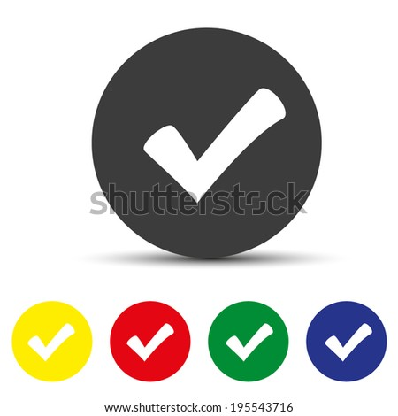 Set of round colored buttons. vector illustration icon of check box - stock vector