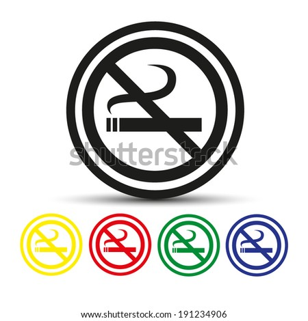 Set of round colored buttons. vector illustration No smoking sign. - stock vector