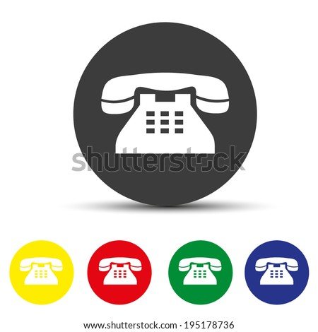 Set of round colored buttons. vector illustration Vector icon of a phone - stock vector