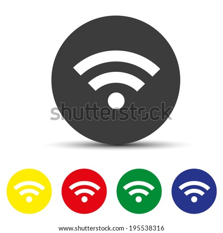 Set of round colored buttons. vector illustration Wireless Network Symbol - stock vector