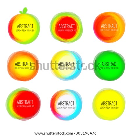 Set of round colorful vector rings. Abstract vector banners. Design elements.