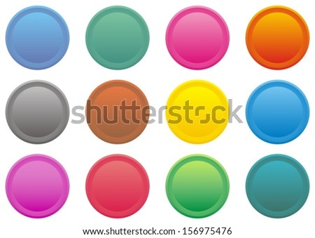 set of round coloured web buttons - vector illustration