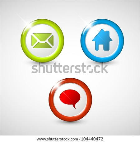 Set of round 3D buttons - home, email, chat, discussion - stock vector