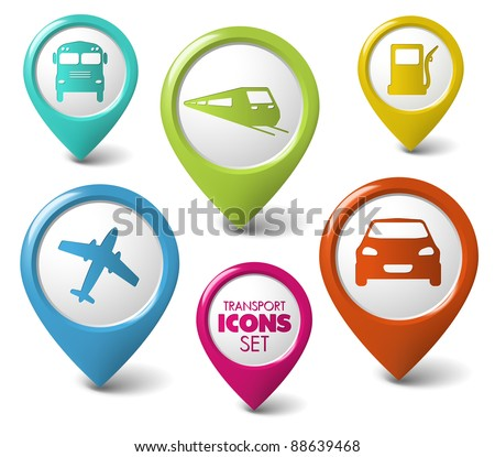 Set of round 3D transport pointers - car, bus, train, plane, gas station - stock vector