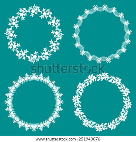 Set of 4 Round Decorative Lace Frames Borders - stock vector
