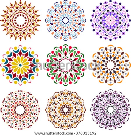 Set of round elements for design. Beautiful, delicate mandala patterns.