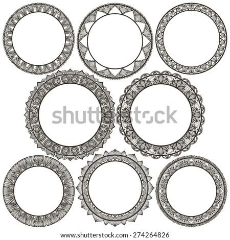 set of round ethnic frames on white background - stock vector