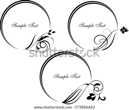 Set of round frame with decorative branch. Vector illustration.