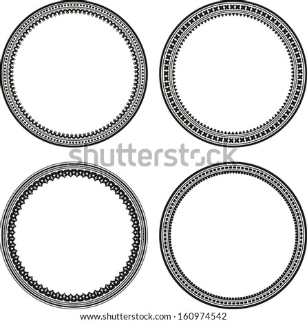 Set of 4 round frames  - stock vector