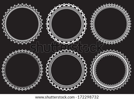 Set of round frames on a black background - stock vector