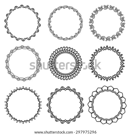 Set of round frames with calligraphic ornament. Retro, vintage, tattoo. Vector design elements. - stock vector