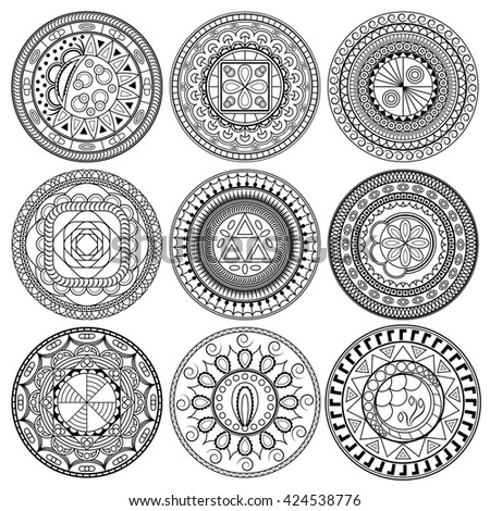 Set of round geometric ornaments. Hand drawn doodle mandalas. Can be used as coloring page or element for decoration