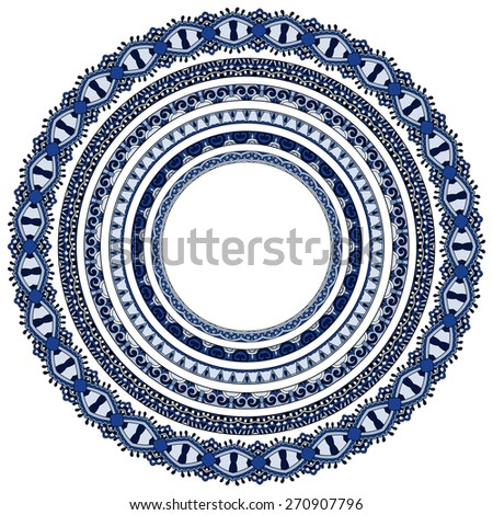 set of round geometrical frames, circle border ornament, vector illustration in blue color - stock vector