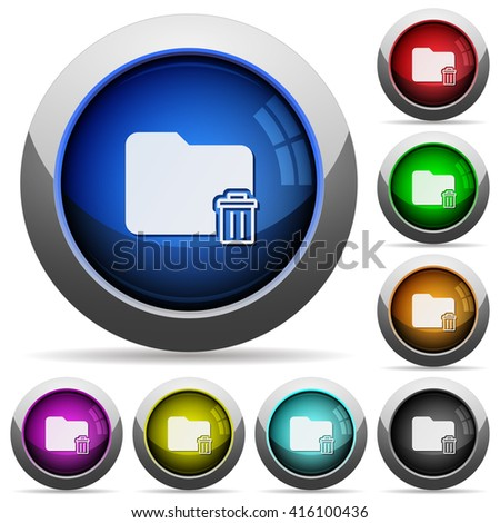 Set of round glossy delete folder buttons. Arranged layer structure. - stock vector