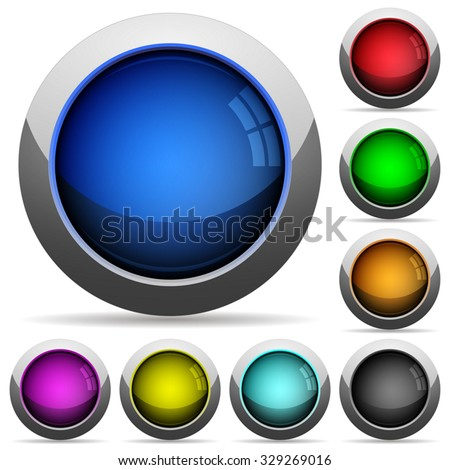 Set of round glossy empty buttons. Arranged layer structure. - stock vector