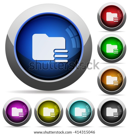 Set of round glossy folder options buttons. Arranged layer structure. - stock vector