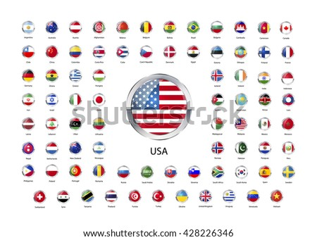 Set of round glossy icons with metallic border of flags of world sovereign states isolated on white - stock vector