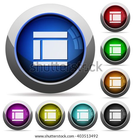 Set of round glossy Two columns web layout buttons. Arranged layer structure. - stock vector
