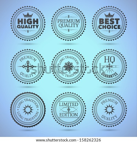 Set of round hollow badges. EPS10. - stock vector