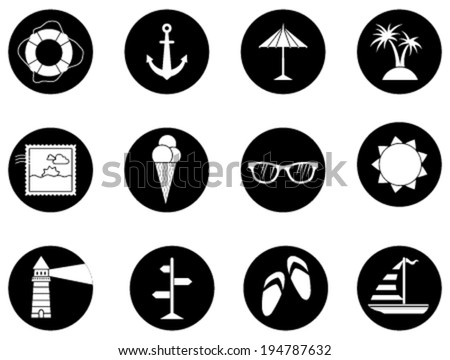 Set of 12 round icons. Black and white sea summer icons isolated on white background. - stock vector